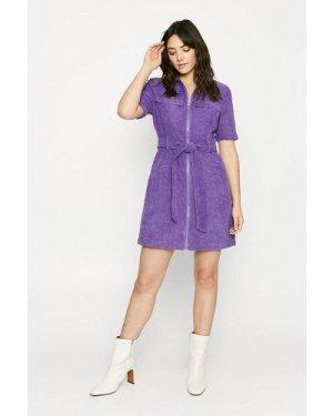 Womens Short Sleeved Cord Zip Through Dress - purple, Purple