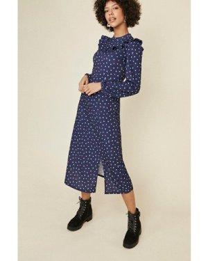 Womens Ruffle Bib Floral Midi Dress - navy, Navy