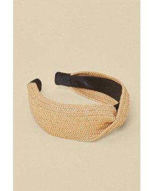Womens Jute Knot Headband - beige, Beige