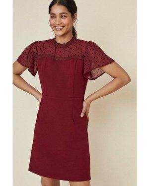 Womens Chiffon Spot Mini Dress - burgundy, Burgundy