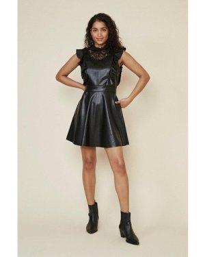 Womens Pu Lace Mini Dress - black, Black