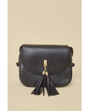 Womens Tassel Cross Body Bag - black, Black