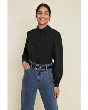Womens Lace Trim Cotton Poplin Shirt - black, Black