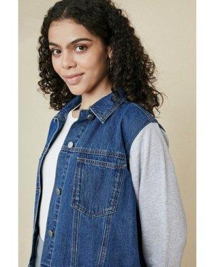 Womens Jersey Sleeved Denim Jacket - dark wash, Dark Wash