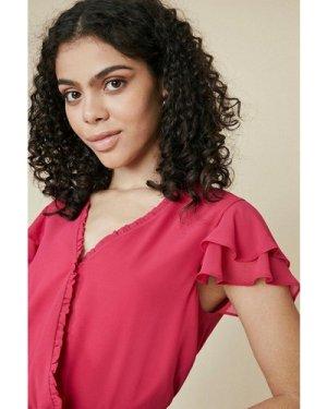 Womens Wrap Blouse - pink, Pink