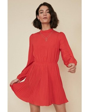 Womens Pleated Skater Dress - red, Red