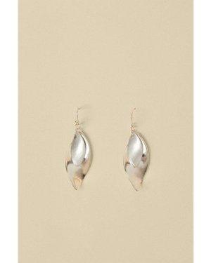 Womens Twizzle Leaf Earrings - silver, Silver