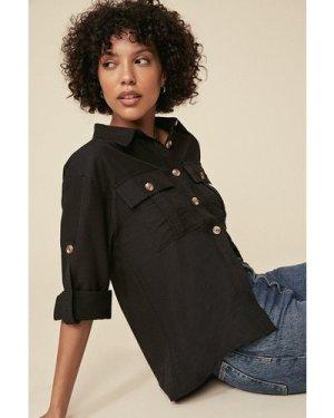 Womens Pocket Detail Linen Look Shirt - black, Black