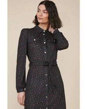Womens Heart Jersey Midi Shirt Dress - multi, Multi
