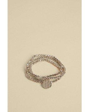 Womens 3 Pack Stretch Bracelet - silver, Silver