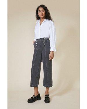 Womens Button Detail Wide Leg Jean - grey, Grey