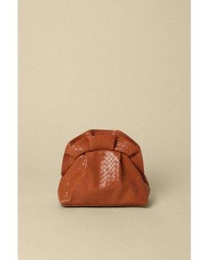 Womens Weave Faux Leather Cross Body Bag - light tan, Light Tan