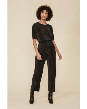 Womens Plisse Loungewear Set - black, Black