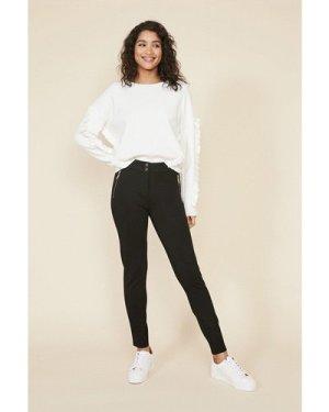 Womens Zip Front Ponte Trousers - black, Black