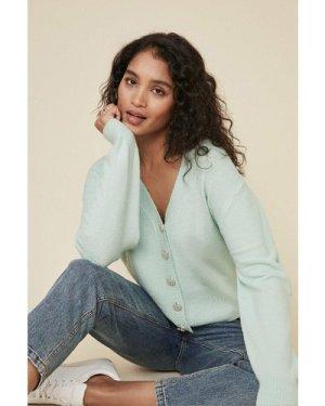 Womens Heart Button Cardigan - mint, Mint