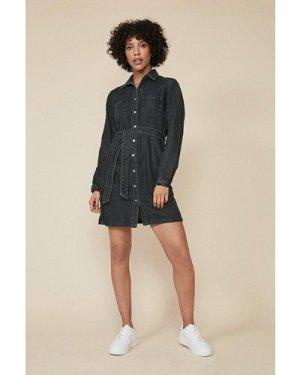 Womens Denim Belted Button Through Dress - black, Black