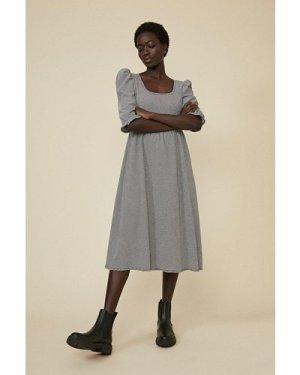 Womens Check Scoop Neck Midi Dress - blackwhite, Blackwhite