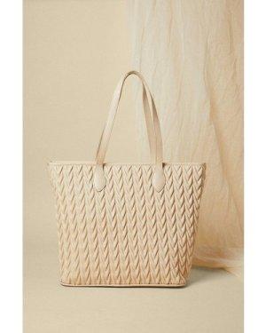 Womens Textured Shopper Bag - cream, Cream