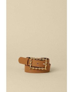 Womens Rectangle Buckle Belt - light tan, Light Tan