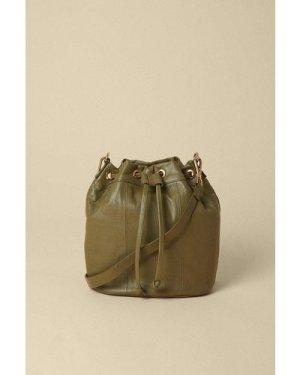 Womens Leather Bucket Bag - khaki, Khaki