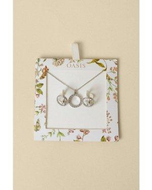 Womens Hoop Detail Jewellery Gift Set - silver, Silver