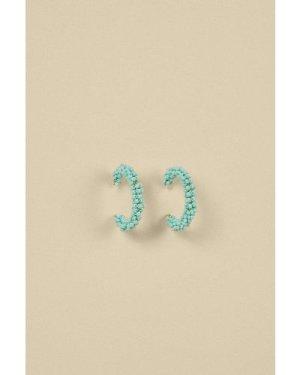 Womens Beaded Hoop Earrings - turquoise, Turquoise