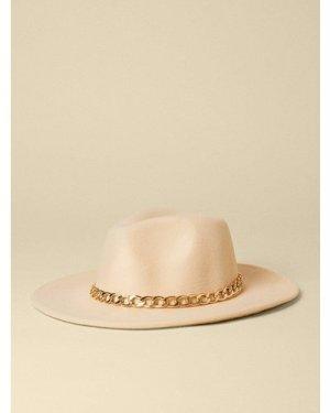 Womens Chunky Chain Fedora Hat - cream, Cream