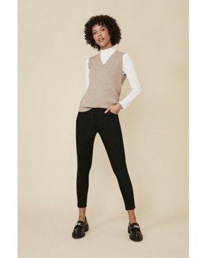 Womens Jade Organic Mid Rise Short Skinny Jean - black, Black
