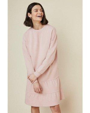 Womens Tiered Drop Waist Sweat Dress - pink, Pink