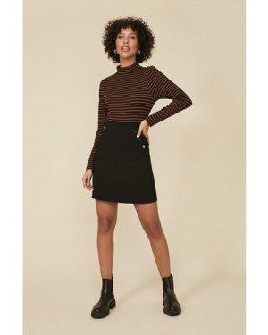 Womens Cotton Sateen A Line Skirt - black, Black