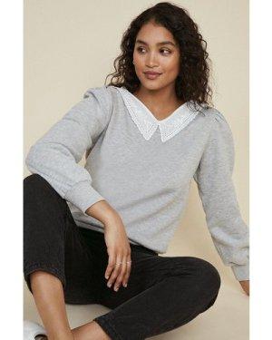 Womens Embroidered Collar Sweatshirt - grey marl, Grey Marl