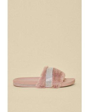 Womens Sparkle Fluffy Slider - light pink, Light Pink