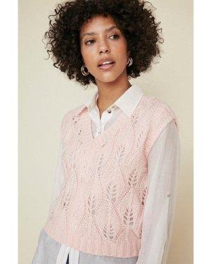 Womens V Neck Stitch Detail Vest - pink, Pink