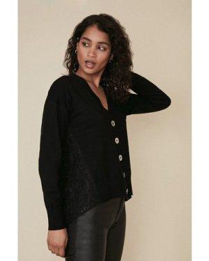 Womens Lace Back Cardigan - black, Black