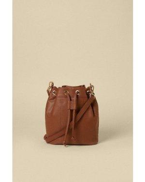 Womens Leather Bucket Bag - tan, Tan