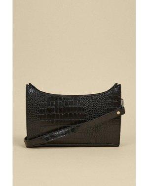 Womens Croc Small Shoulder Bag - black, Black