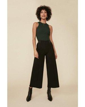 Womens Wide Leg Ponte Trousers - black, Black