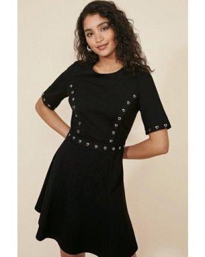 Womens Heart Eyelet Ponte Skater Dress - black, Black