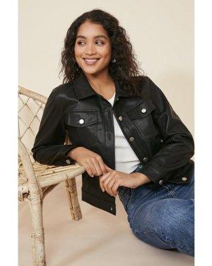 Womens Pu Button Front Jacket - black, Black