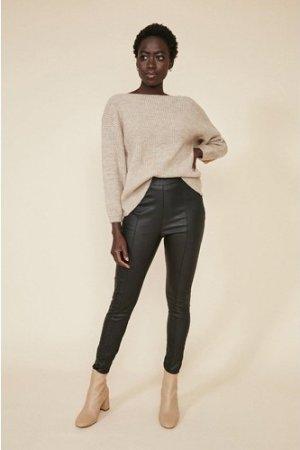 Womens Coated Seam Front Leggings - black, Black