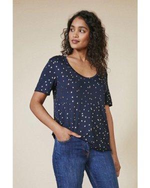 Womens Foil Spot T-Shirt - navy, Navy