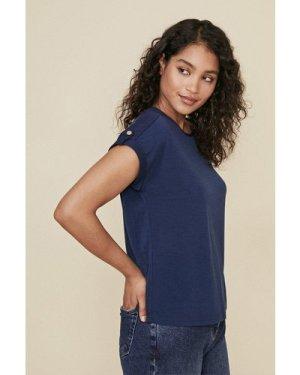 Womens Turn Back Cuff T Shirt - navy, Navy