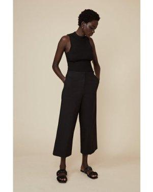 Womens Cotton Sateen Wide Leg Trouser - black, Black