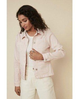 Womens Pocket Detail Denim Jacket - pink, Pink