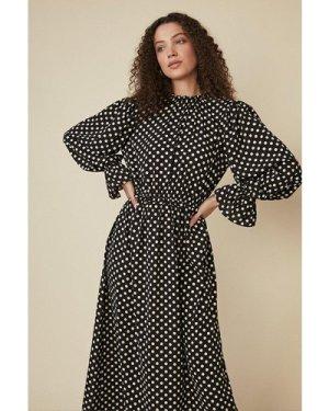 Womens Spot Midi Dress - black, Black