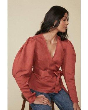 Womens Linen Mix Wrap Puff Sleeve Blouse - rust, Rust