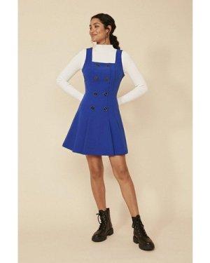 Womens Button Front Pleated Sleeveless Dress - cobalt, Cobalt