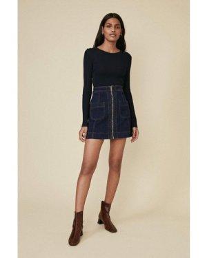 Womens Zip Through Pocket Detail Skirt - dark wash, Dark Wash
