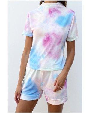 High Neck Tie Dye Co-ord Loungewear Set size: ONE SIZE, colour: Multi