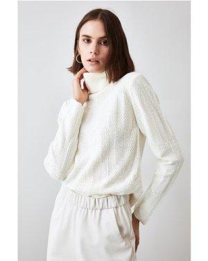 Trendyol Little Mistress x Trendyol Ecru Knit Detailed Knitwear Sweate